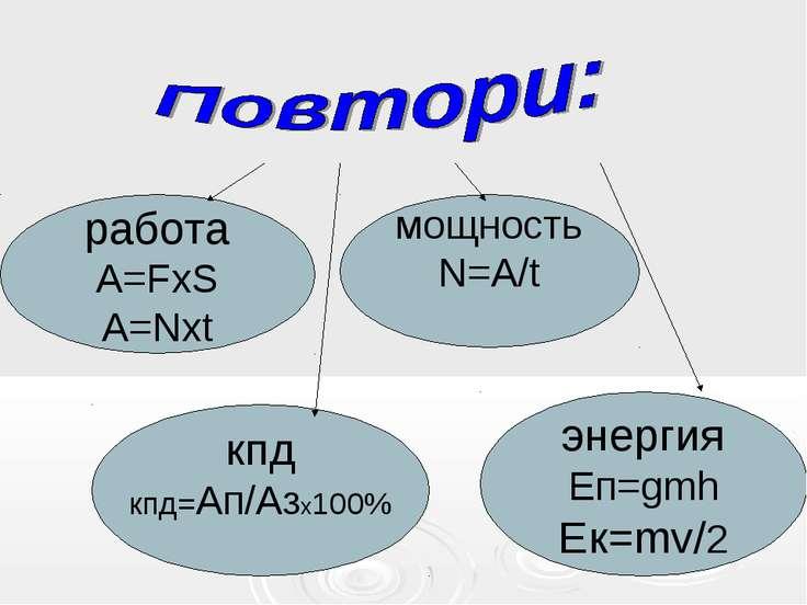 работа A=FхS A=Nхt мощность N=A/t кпд кпд=Ап/Азх100% энергия Еп=gmh Ек=mv/2