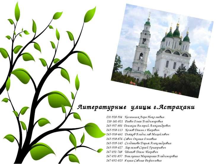 Литературные улицы г.Астрахани 231-928-914 Калашник Вера Николаевна 210-141-8...