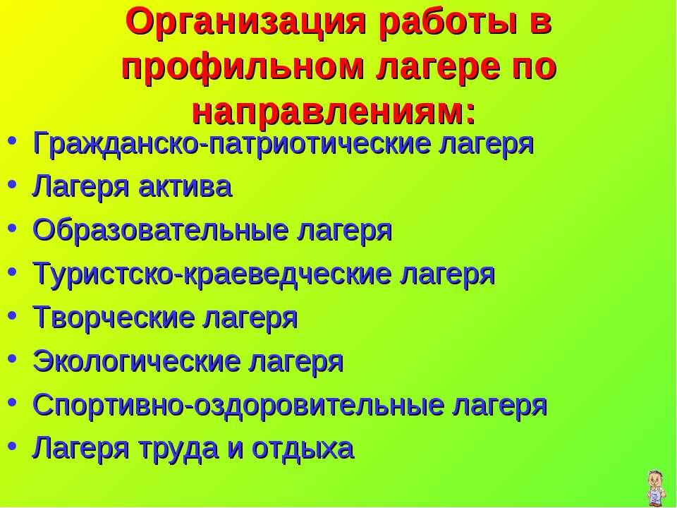 Организация работы в профильном лагере по направлениям: Гражданско-патриотиче...