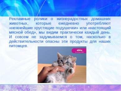 Рекламные ролики о жизнерадостных домашних животных, которые ежедневно употре...