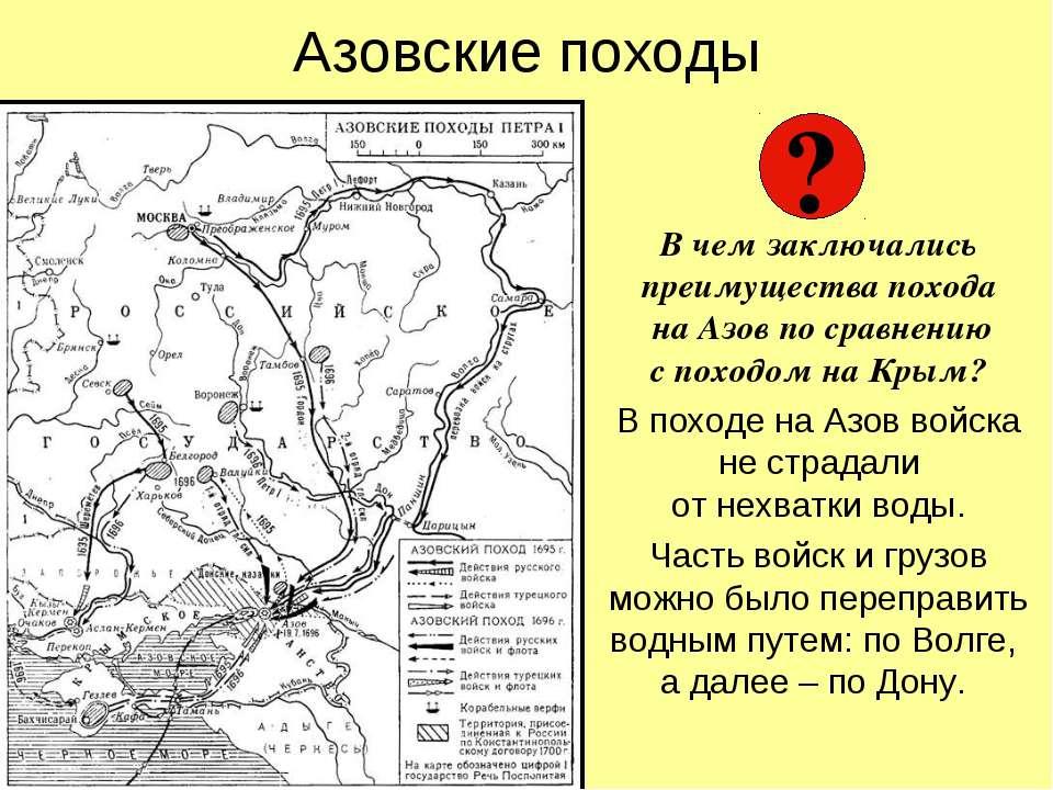 Азовские походы В чем заключались преимущества похода на Азов по сравнению с ...