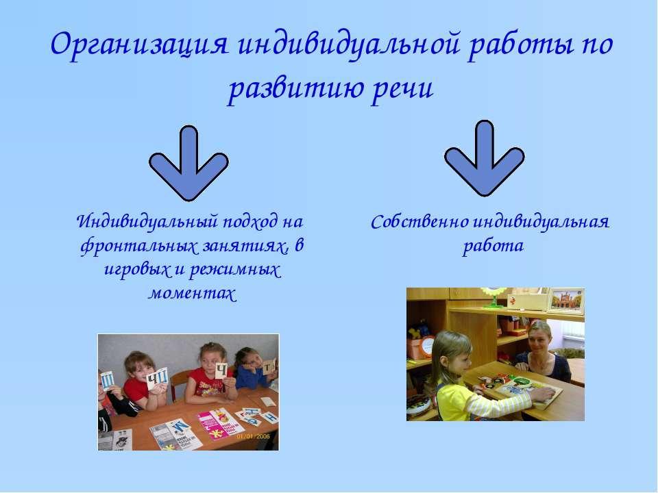 Организация индивидуальной работы по развитию речи Индивидуальный подход на ф...