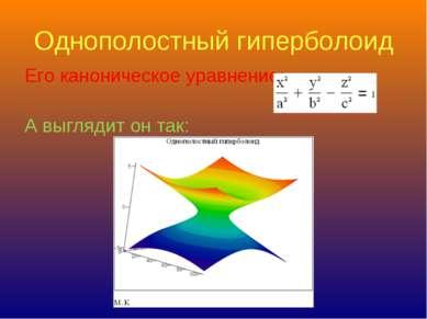 Однополостный гиперболоид Его каноническое уравнение: А выглядит он так: