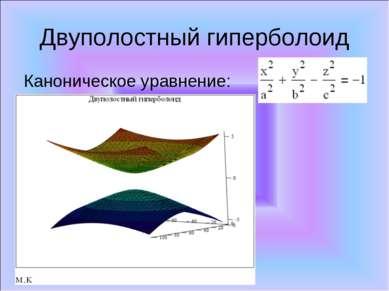 Двуполостный гиперболоид Каноническое уравнение:
