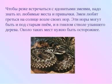 Чтобы реже встречаться с ядовитыми змеями, надо знать их любимые места и прив...