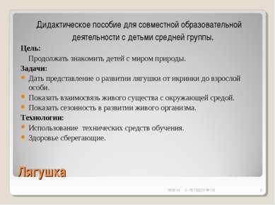 Лягушка Дидактическое пособие для совместной образовательной деятельности с д...