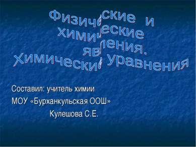 Составил: учитель химии МОУ «Бурханкульская ООШ» Кулешова С.Е.