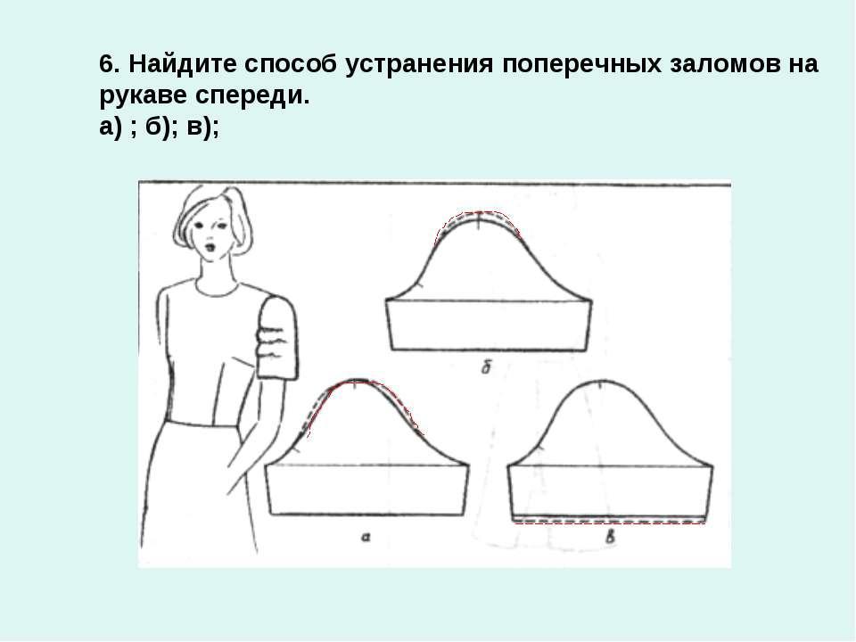 6. Найдите способ устранения поперечных заломов на рукаве спереди. а) ; б); в);