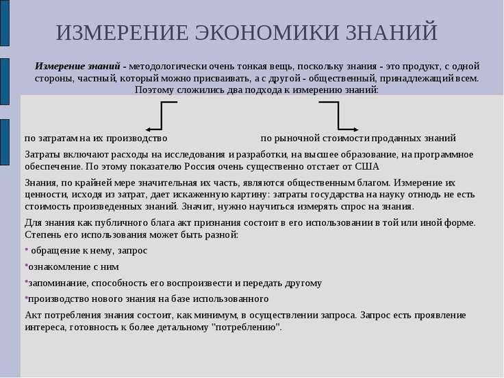 ИЗМЕРЕНИЕ ЭКОНОМИКИ ЗНАНИЙ Измерение знаний - методологически очень тонкая ве...
