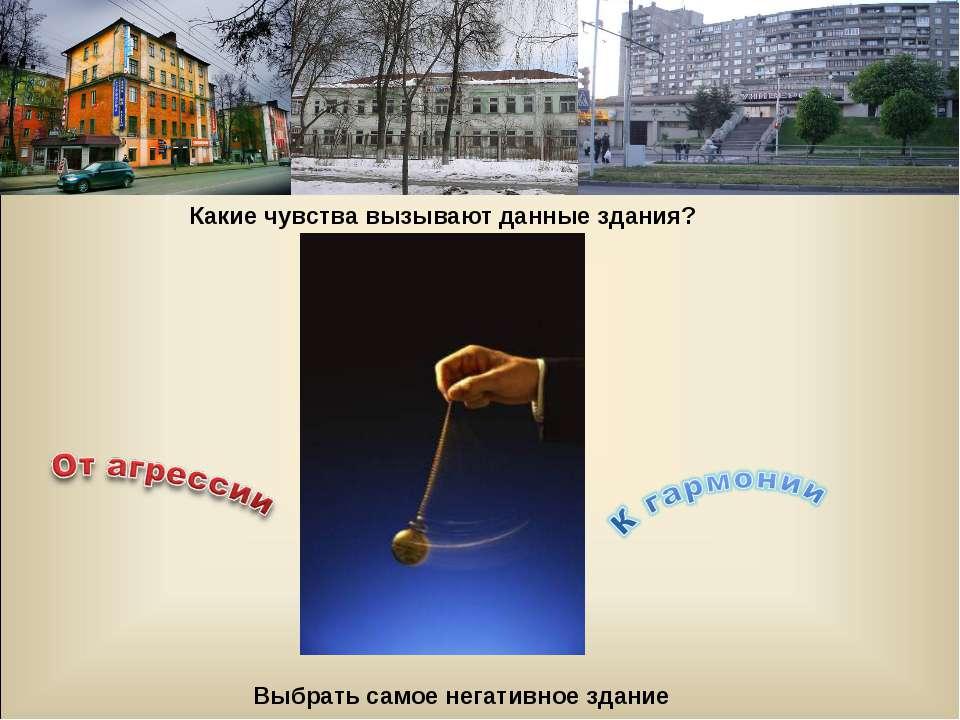 Какие чувства вызывают данные здания? Выбрать самое негативное здание