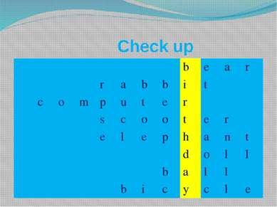Check up b e a r r a b b i t c o m p u t e r s c o o t e r e l e p h a n t d ...