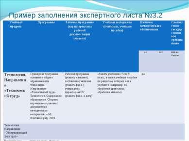 Пример заполнения экспертного листа №3.2 Учебный предмет Программы Рабочая пр...