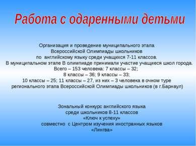 Организация и проведение муниципального этапа Всероссийской Олимпиады школьни...