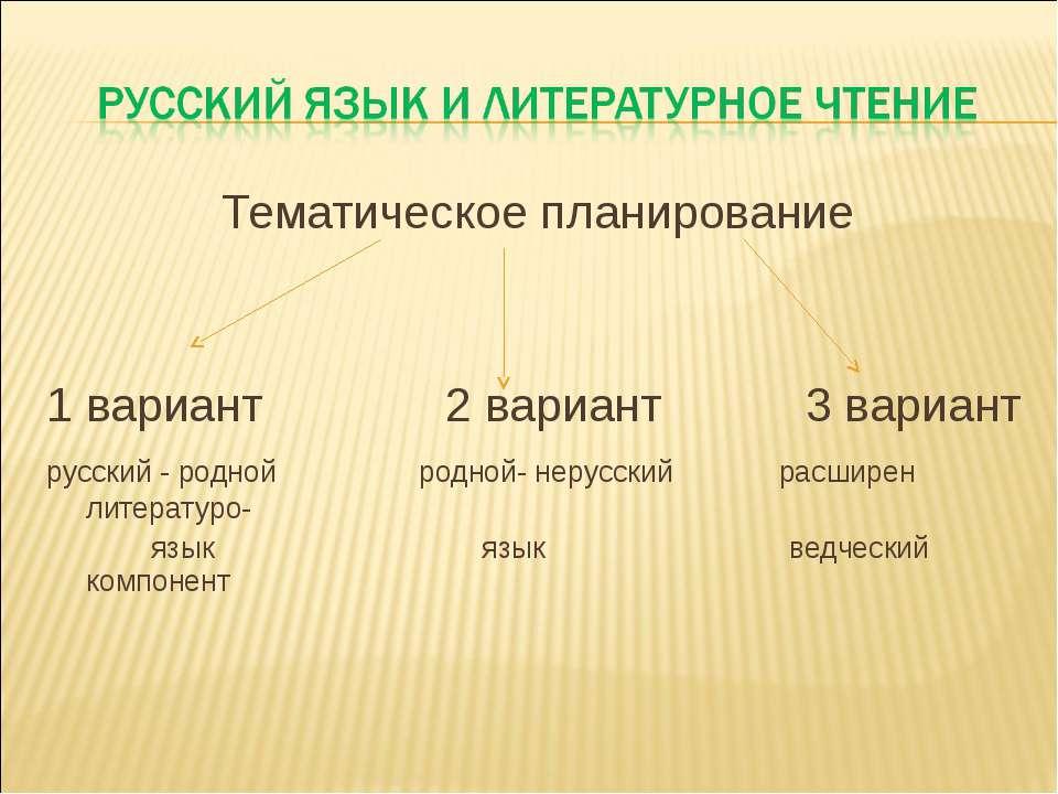 Тематическое планирование 1 вариант 2 вариант 3 вариант русский - родной родн...