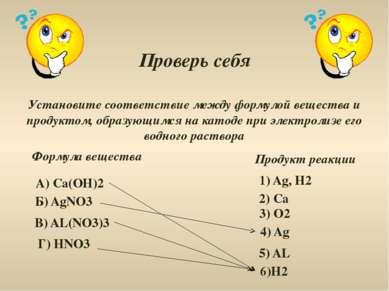 Проверь себя Установите соответствие между формулой вещества и продуктом, обр...