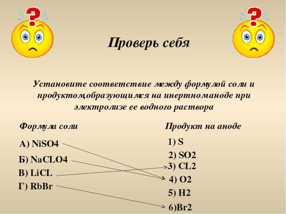 Проверь себя Установите соответствие между формулой соли и продуктом,образующ...