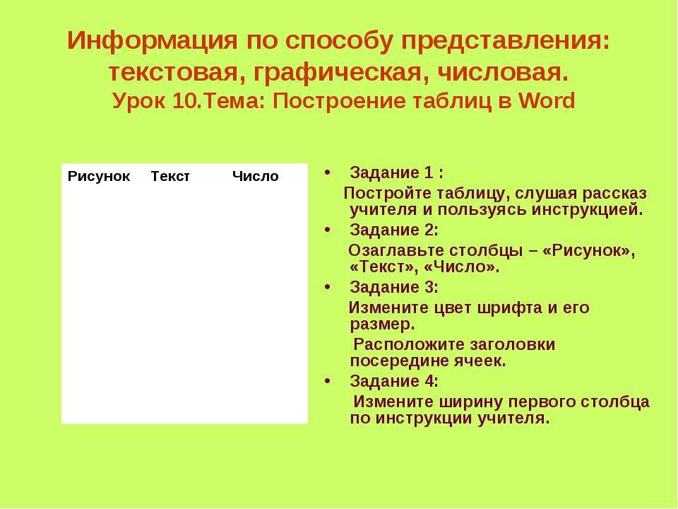 Информация по способу представления: текстовая, графическая, числовая. Урок 1...