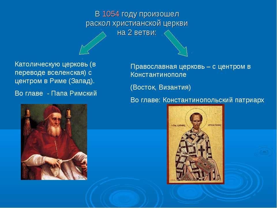 В 1054 году произошел раскол христианской церкви на 2 ветви: Католическую цер...
