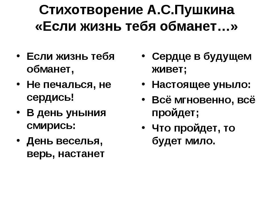 Стихотворение А.С.Пушкина «Если жизнь тебя обманет…» Если жизнь тебя обманет,...