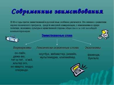 Современные заимствования В 90-е годы приток заимствований в русский язык осо...
