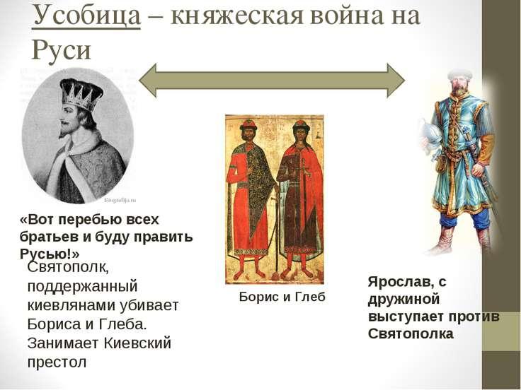 Усобица – княжеская война на Руси Святополк, поддержанный киевлянами убивает ...