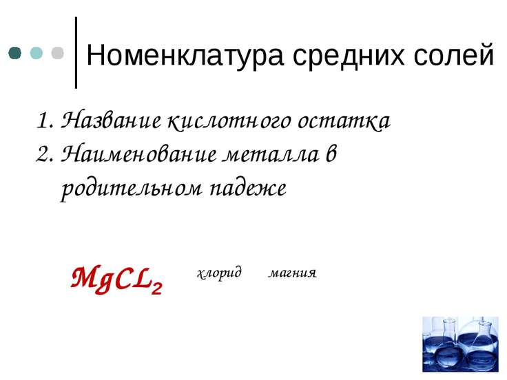 Номенклатура средних солей магния Название кислотного остатка Наименование ме...