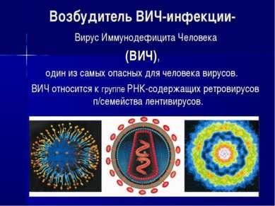 Возбудитель ВИЧ-инфекции- Вирус Иммунодефицита Человека (ВИЧ), один из самых ...