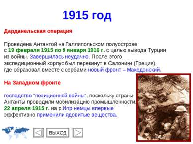 1915 год Дарданельская операция Проведена Антантой на Галлипольском полуостро...