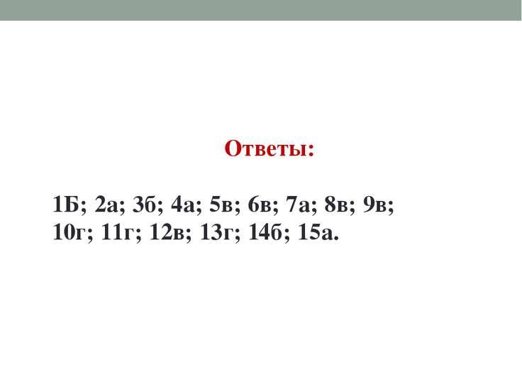Ответы: 1Б; 2а; 3б; 4а; 5в; 6в; 7а; 8в; 9в; 10г; 11г; 12в; 13г; 14б; 15а.