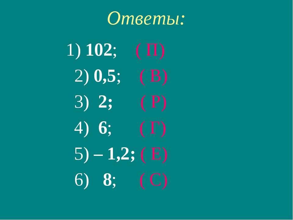 Ответы: 1) 102; ( П) 2) 0,5; ( В) 3) 2; ( Р) 4) 6; ( Г) 5) – 1,2; ( Е) 6) 8; ...