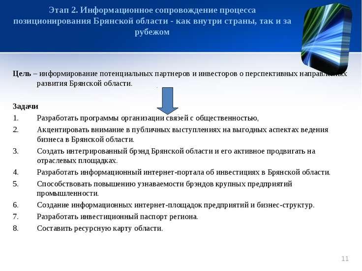 Цель – информирование потенциальных партнеров и инвесторов о перспективных на...