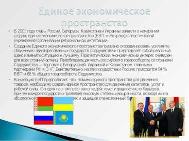В 2003 году главы России, Беларуси, Казахстана и Украины заявили о намерении ...
