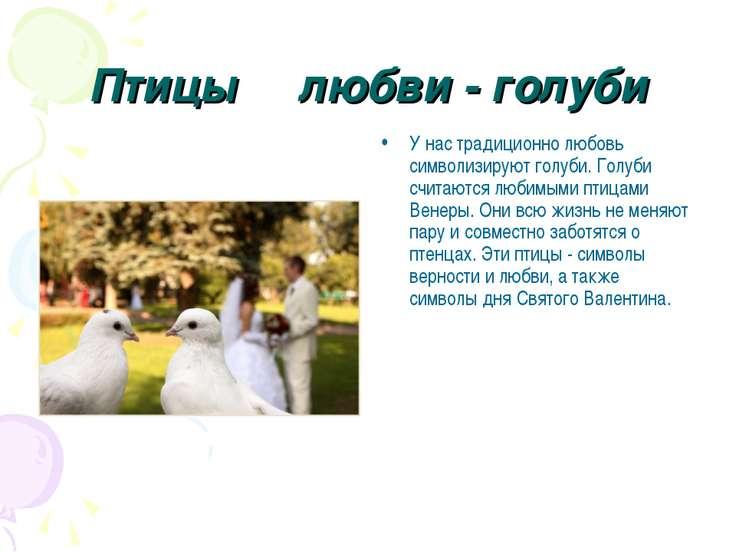 Птицы любви - голуби У нас традиционно любовь символизируют голуби. Голуби сч...