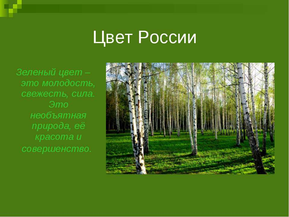 Цвет России Зеленый цвет – это молодость, свежесть, сила. Это необъятная прир...