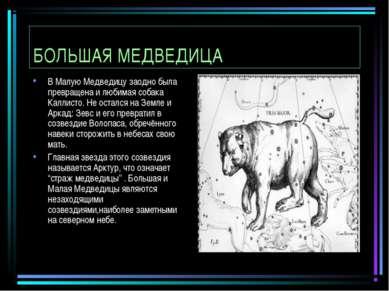 БОЛЬШАЯ МЕДВЕДИЦА В Малую Медведицу заодно была превращена и любимая собака К...