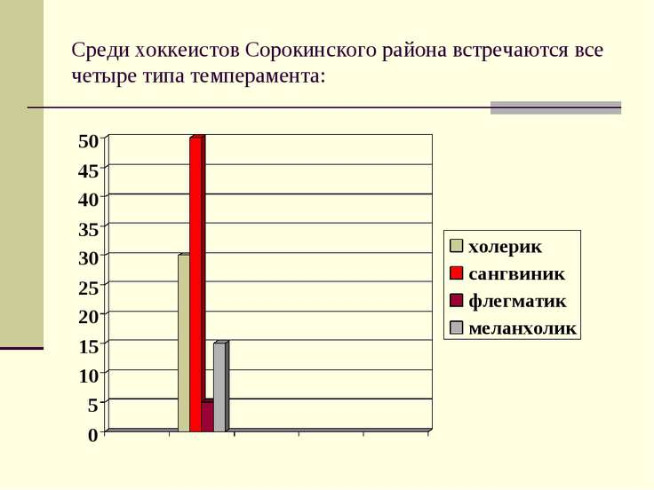 Среди хоккеистов Сорокинского района встречаются все четыре типа темперамента: