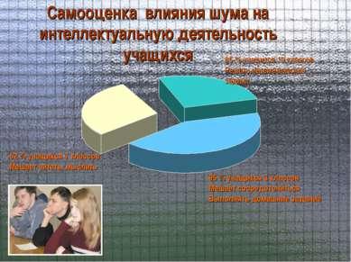 Самооценка влияния шума на интеллектуальную деятельность учащихся 62 % учащих...