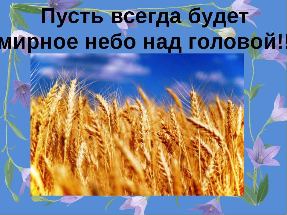 Пусть всегда будет мирное небо над головой!!!