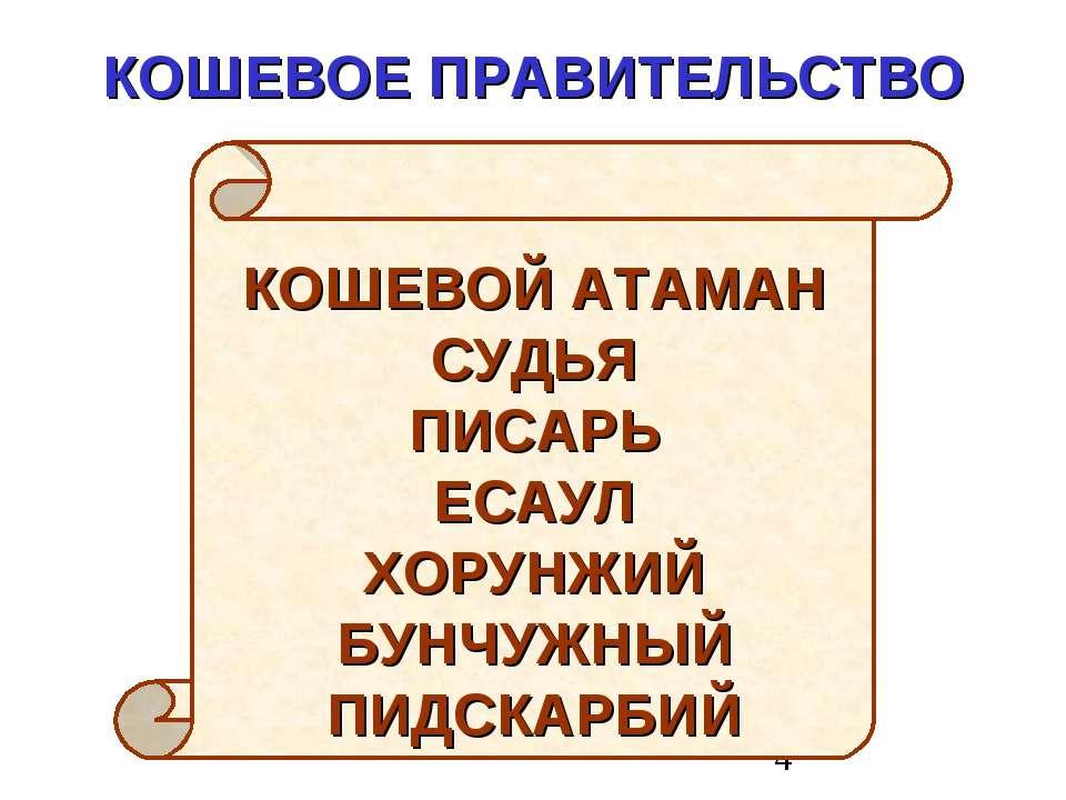 КОШЕВОЕ ПРАВИТЕЛЬСТВО КОШЕВОЙ АТАМАН СУДЬЯ ПИСАРЬ ЕСАУЛ ХОРУНЖИЙ БУНЧУЖНЫЙ ПИ...