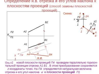 Определение н.в. отрезка и его углов наклона к плоскостям проекций (способ за...