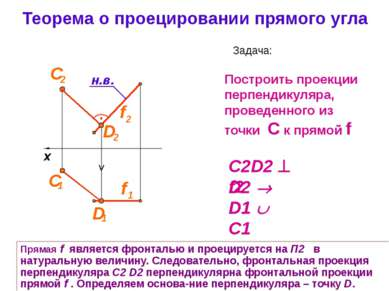 Теорема о проецировании прямого угла Задача: Построить проекции перпендикуляр...