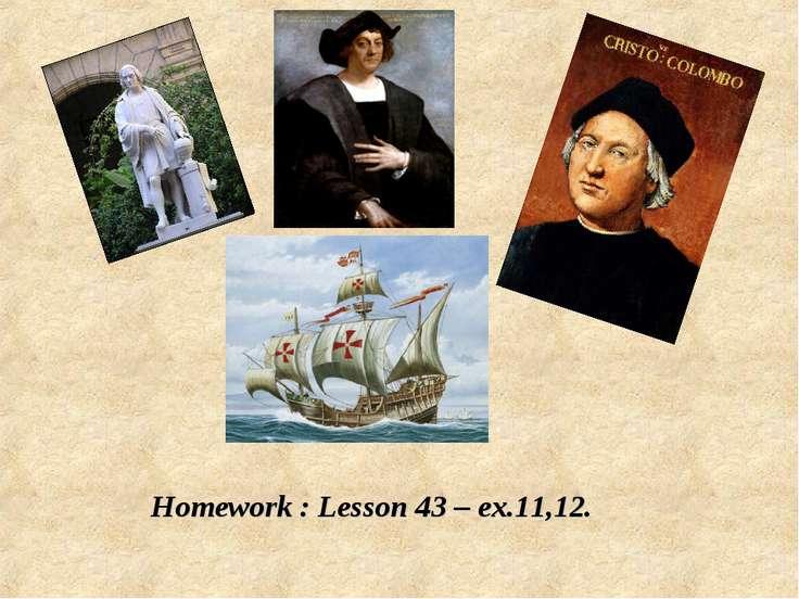 Homework : Lesson 43 – ex.11,12.
