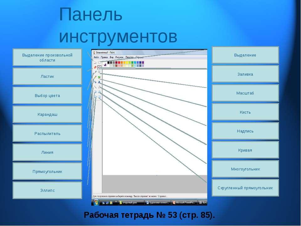 Панель инструментов Заливка Выделение Масштаб Кисть Надпись Кривая Многоуголь...