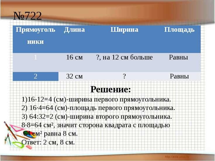 №722 Решение: 1)16-12=4 (см)-ширина первого прямоугольника. 2) 16·4=64 (см)-п...