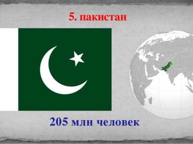 205 млн человек 5. пакистан