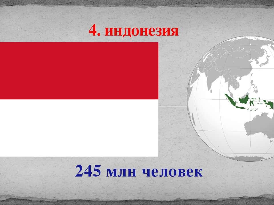 245 млн человек 4. индонезия