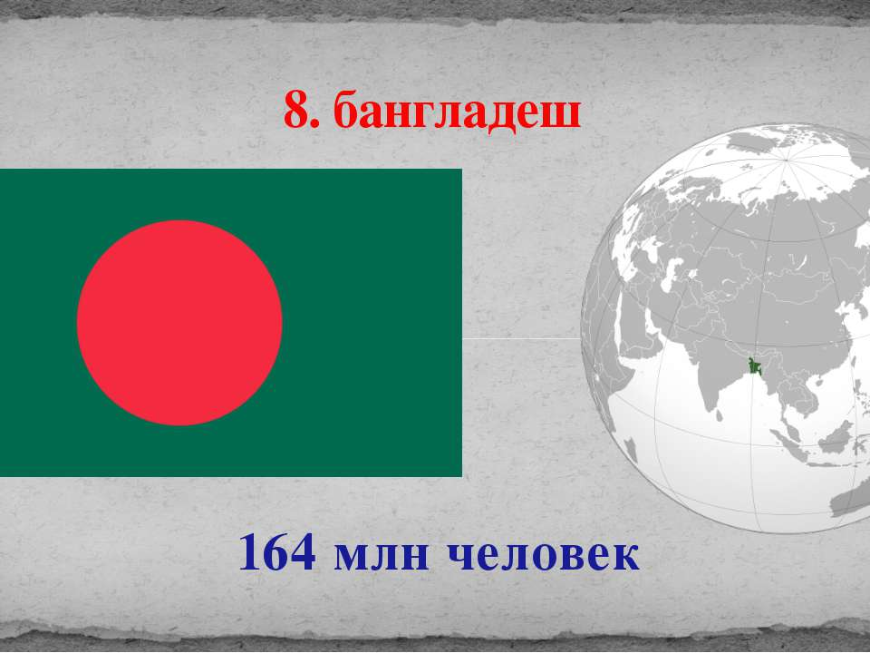 164 млн человек 8. бангладеш
