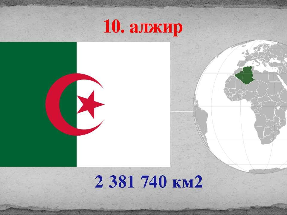 2 381 740 км2 10. алжир