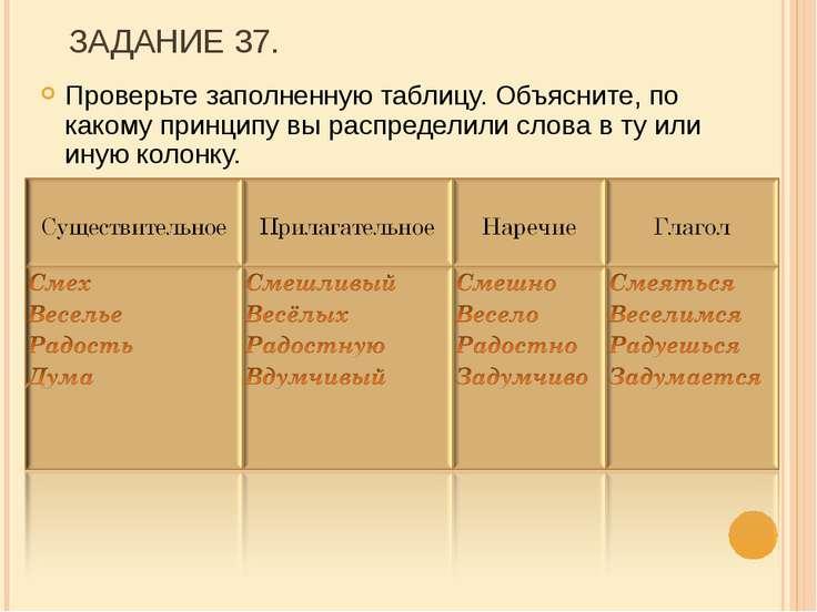 ЗАДАНИЕ 37. Проверьте заполненную таблицу. Объясните, по какому принципу вы р...