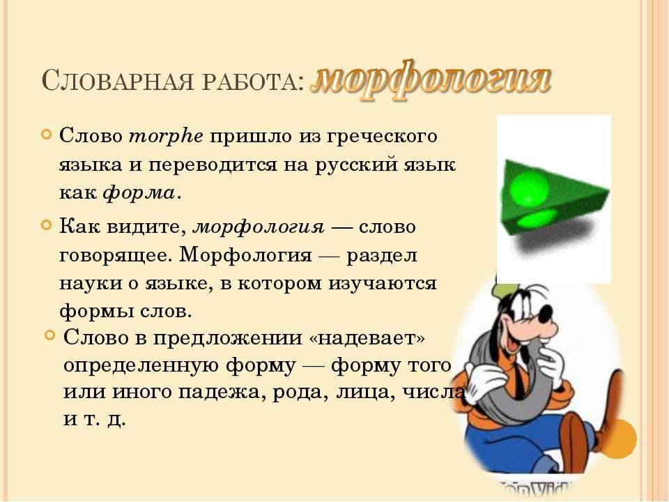 Слово morphe пришло из греческого языка и переводится на русский язык как фор...